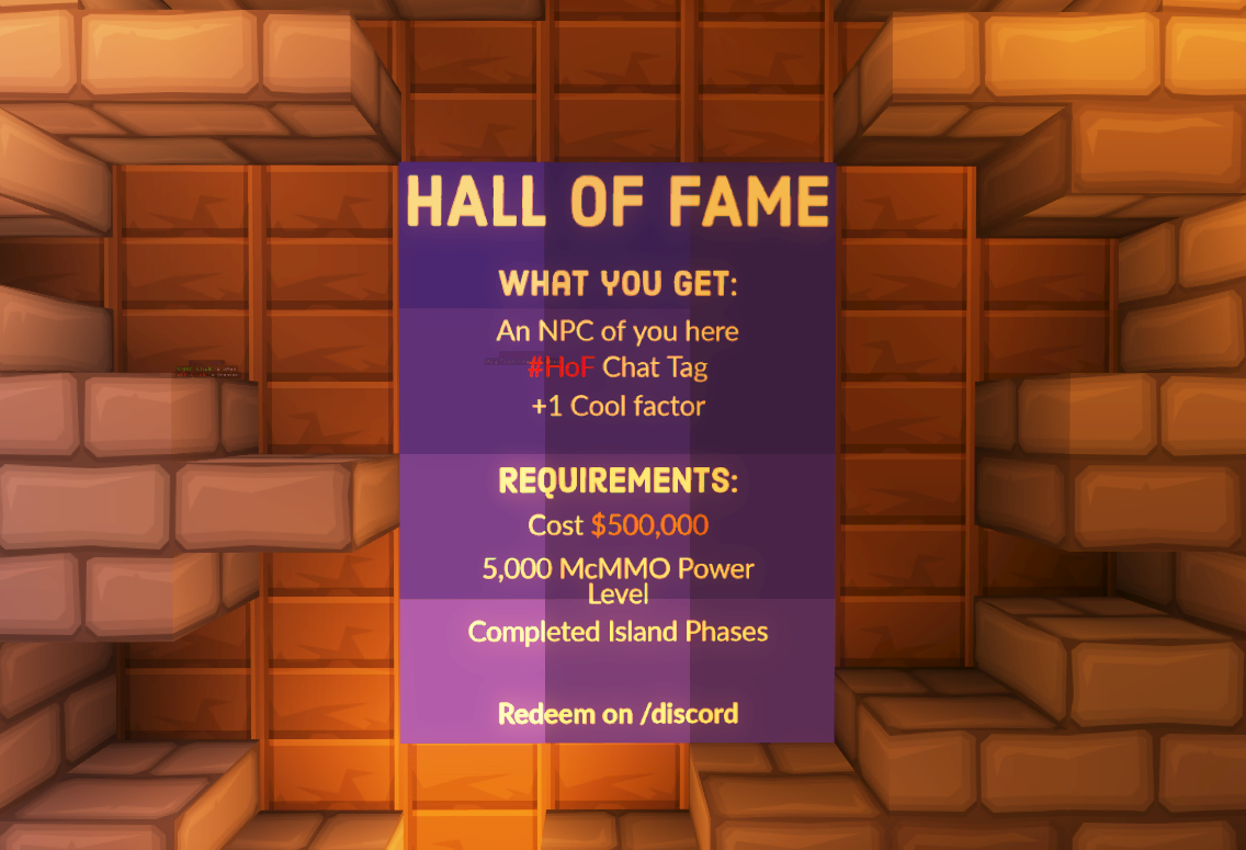 Hall of Fame in Minecraft